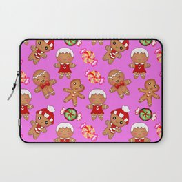 Cute decorative hygge seamless pink pattern. Happy gingerbread men and sweet xmas caramel chocolate Laptop Sleeve