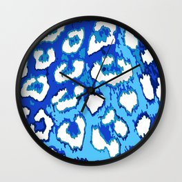 Blue and White Leopard Spots Wall Clock