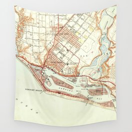 Vintage Map of Newport Beach California (1951) Wall Tapestry