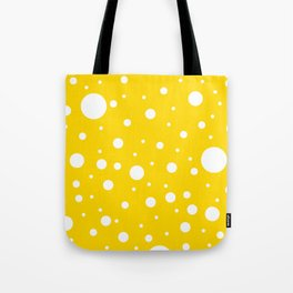 Mixed Polka Dots - White on Gold Yellow Tote Bag