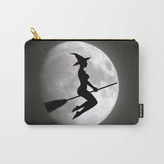 Witch On a Broom Against the Moon Carry-All Pouch