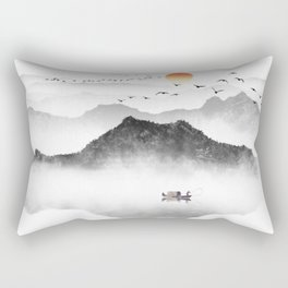 Japanese ink painting - Mountains By the Lake Rectangular Pillow