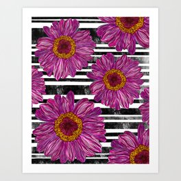 Pink Ink Flowers on Black & White Stripes Art Print