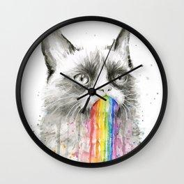 Grumpy Rainbow Cat Watercolor Animal Meme Geek Art Wall Clock