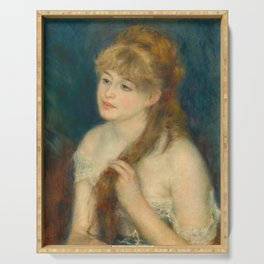 Classic Art - Young Woman Braiding Her Hair - Auguste Renoir Serving Tray
