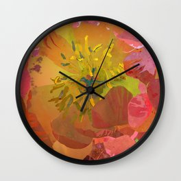 Coral Peony Flower Art #1 | Watercolor Floral Illustration Wall Clock