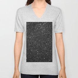 Black Faux Glitter Unisex V-Neck