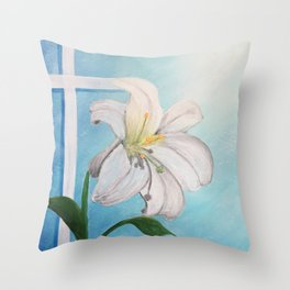 Easter Lilly Cross Throw Pillow