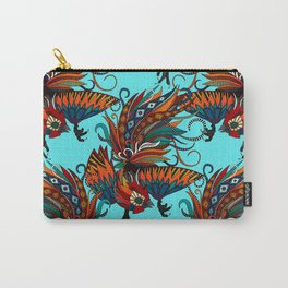 rooster ink turquoise Carry-All Pouch