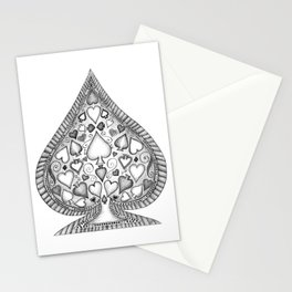 Ace of Spades Black and White Stationery Cards