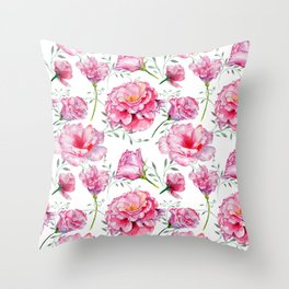 Blush pink green hand painted watercolor roses floral Throw Pillow