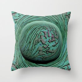 Green Singularity - Abstract Swirling Globe Throw Pillow