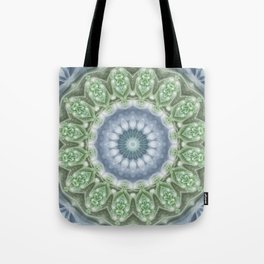 Slate Blue and Green Mandala Tote Bag