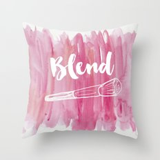 Pink Vanity Decor, Makeup Brush Illustration, Watercolour Throw Pillow