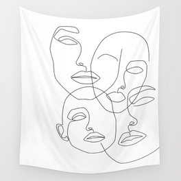 Messy Faces Wall Tapestry