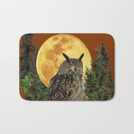 BROWN WILDERNESS OWL WITH FULL MOON & TREES Bath Mat