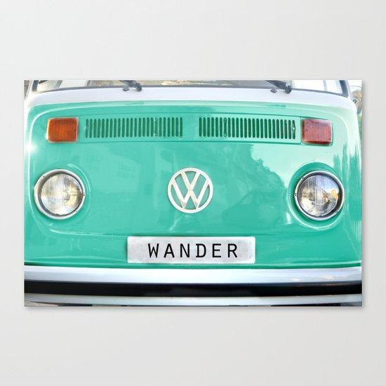Wander wolkswagen. Summer dreams. Green Canvas Print