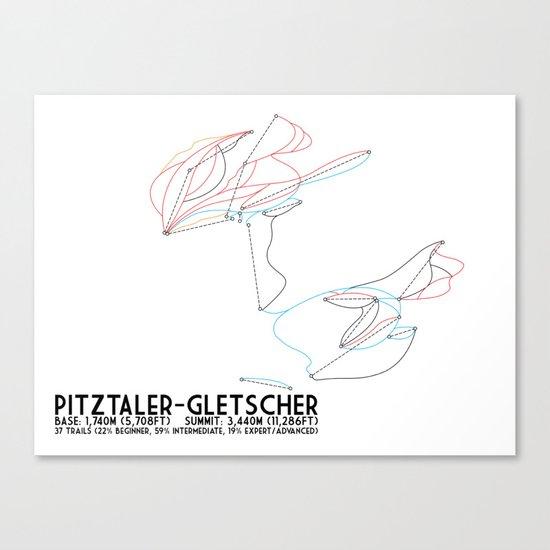 Pitztaler Gletscher, Tirol, Austria - European Colors - Minimalist Trail Art Canvas Print