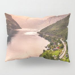 Fjord at sunset Pillow Sham