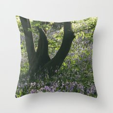 Wild Bluebells in ancient woodland. Wayland Wood, Norfolk, UK. Throw Pillow
