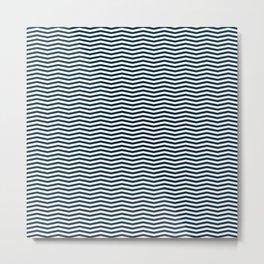 Midnight Blue and White Christmas Wavy Chevron Stripes Metal Print