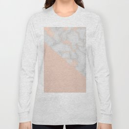 Rose gold marble and soft blush pink Long Sleeve T-shirt