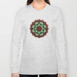 Mandala design in Maroon, coral, green and mint green Long Sleeve T-shirt