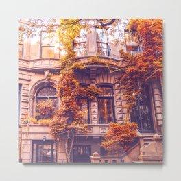 Dressed Up in Autumn - New York City Brownstones Metal Print