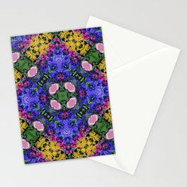 Floral Spectacular: Blue, Plum and Gold - repeating pattern, diamond, Olbrich Botanical Gardens, Mad Stationery Cards