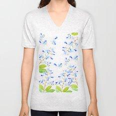 blue butterfly flowers arrangement watercolor Unisex V-Neck