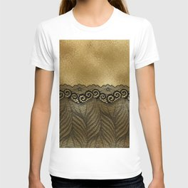Black floral luxury lace on gold effect metal background T-shirt