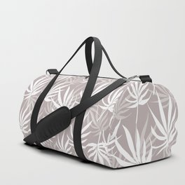 Tropical leaves on Grey Duffle Bag