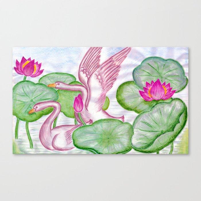 Swan Couples Canvas Print