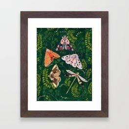 Moths and dragonfly Framed Art Print