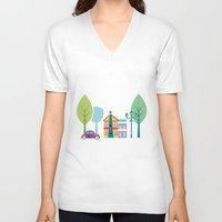 house V-neck T-shirts featuring Ski house by Polkip