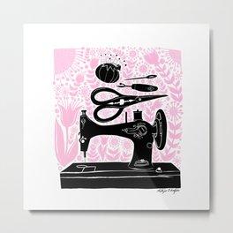 Sewing Love Blooms Metal Print