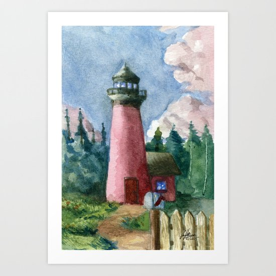 Cozy Lighthouse Art Print