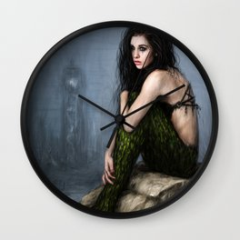 Mermaid and the Lighthouse Wall Clock