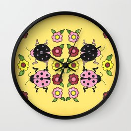 Ladybugs with Flowers Wall Clock