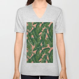 Leaves Bananique in Fresh Salmon Unisex V-Neck