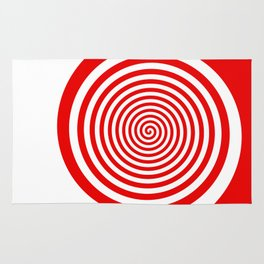 Red and White Spiral Rug