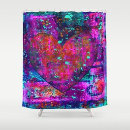 heARTFUL 2 - Mixed Media Art Shower Curtain
