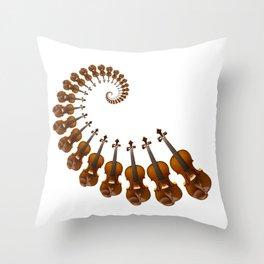 Stradivarius violin spiral music Throw Pillow