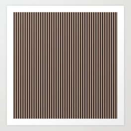 Warm Taupe and Black Stripes Art Print