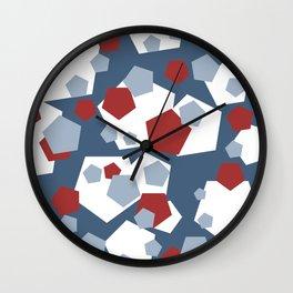 geometric pattern design blue Wall Clock