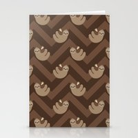 sloths Stationery Cards featuring Sloths on chevrons by Petits Pixels