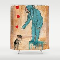 will graham Shower Curtains featuring GRAHAM CRACKERS by RAGING BUNNIES