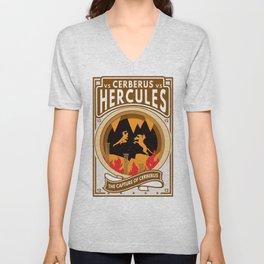 Hercules Versus Cerberus Twelfth Labor Paper Cutout Boxing Style Unisex V-Neck