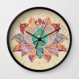 Watercolor & Gold paisley decorated lotus Wall Clock