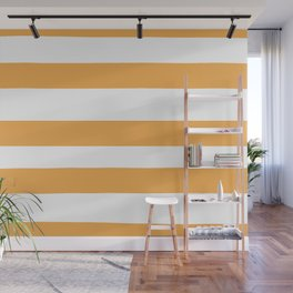 VA Bright Marigold - Spring Squash - Pure Joy - Just Ducky Hand Drawn Fat Horizontal Lines on White Wall Mural